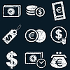 Currency icon set, white grunge