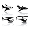 Set of transport icons - airbus and helicopter | Stock Vector Graphics
