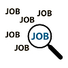 Job search concept loupe and text job